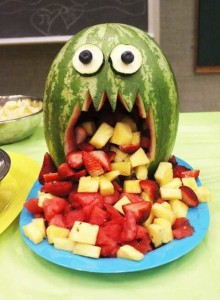 Edible Fruit Halloween Treat, Puking Monster Melon